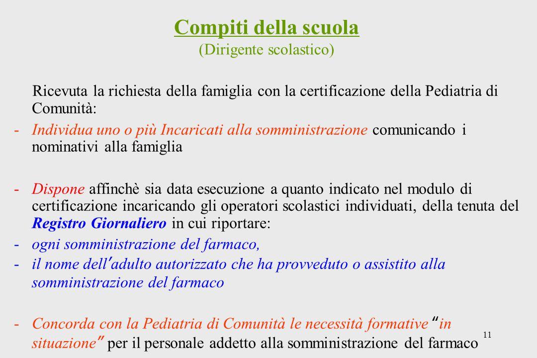 11 Compiti della scuola (Dirigente scolastico) Ricevuta la richiesta della famiglia con la certificazione della Pediatria di Comunità: -Individua uno