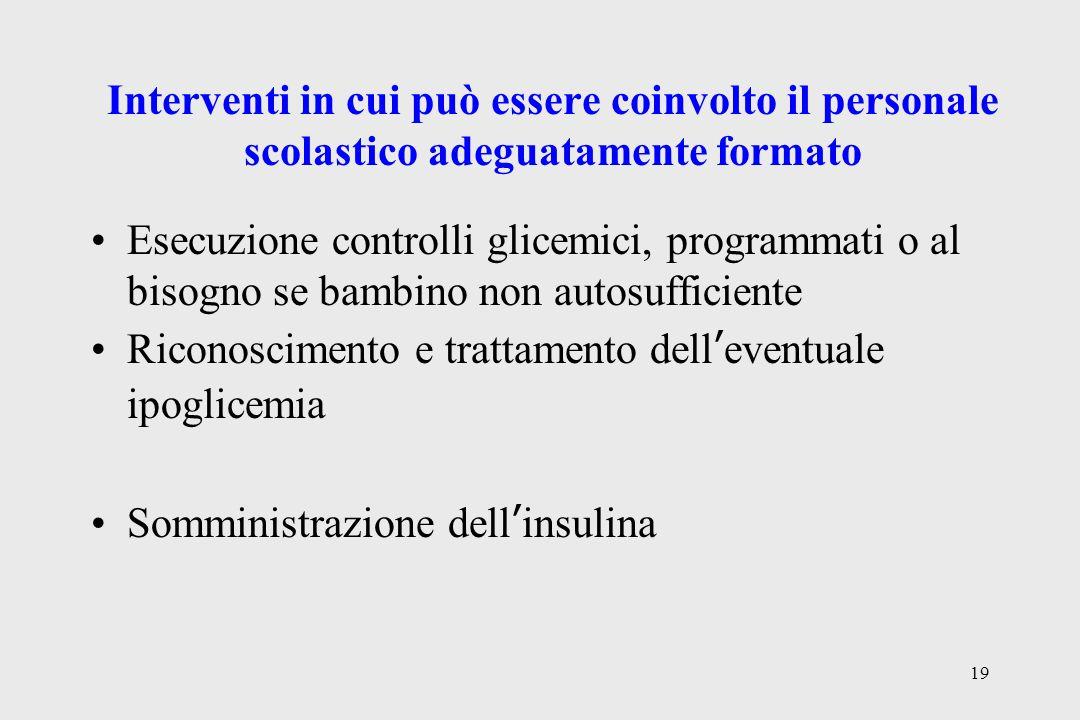 19 Interventi in cui può essere coinvolto il personale scolastico adeguatamente formato Esecuzione controlli glicemici, programmati o al bisogno se ba