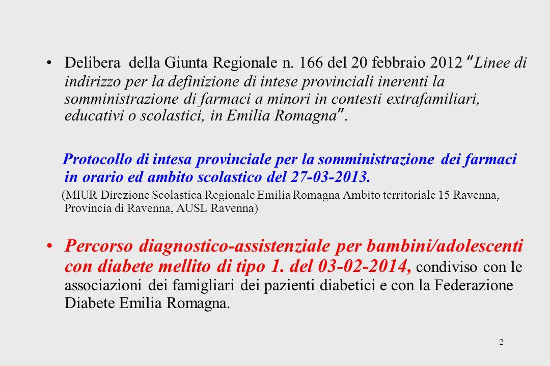 13 Diabete al 19-09-2014 (fascia di età 0-17 anni) AUSL Romagna, Ravenna - 90 minori frequentanti le collettività scolastiche (RA: 54; LU: 18; FA:18) di cui 3 (2 a RA e 1 a FA) seguiti dal Servizio Infermieristico domiciliare per la somministrazione di insulina a livello scolastico.