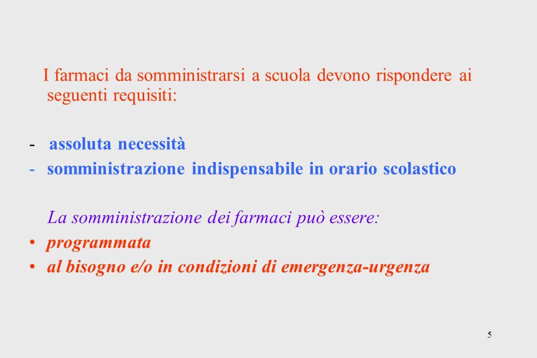 5 I farmaci da somministrarsi a scuola devono rispondere ai seguenti requisiti: - assoluta necessità -somministrazione indispensabile in orario scolas