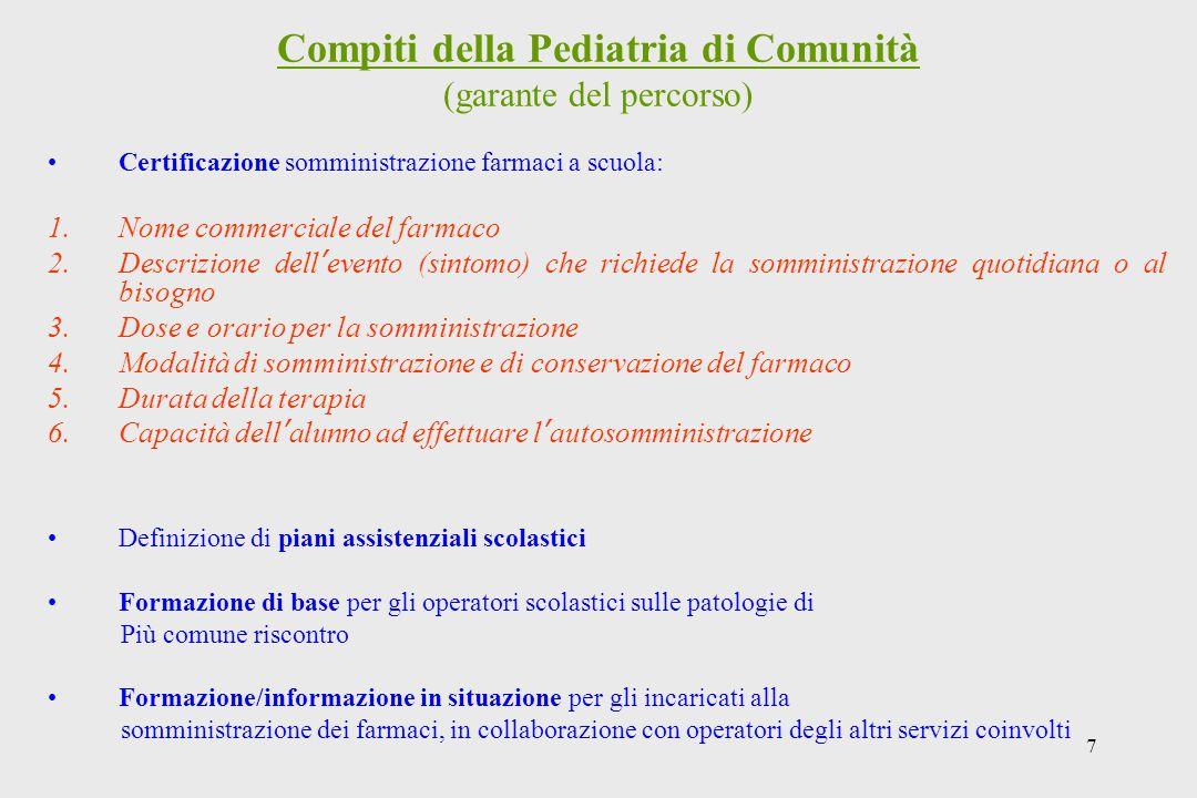 7 Compiti della Pediatria di Comunità (garante del percorso) Certificazione somministrazione farmaci a scuola: 1.Nome commerciale del farmaco 2.Descri