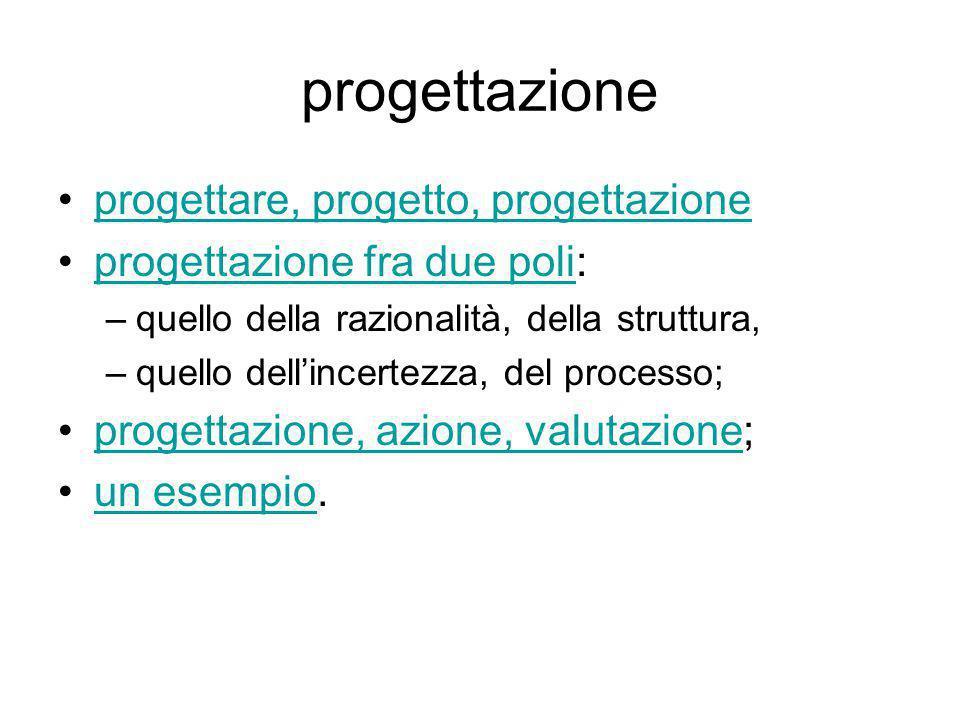 Progettazione fra due poli razionalità  incertezza struttura  processo progettazione-azione-valutazione I virgolettati, se non diversamente indicato, sono relativi al testo L'evento didattico , Cerri, Carocci, Roma, 2008