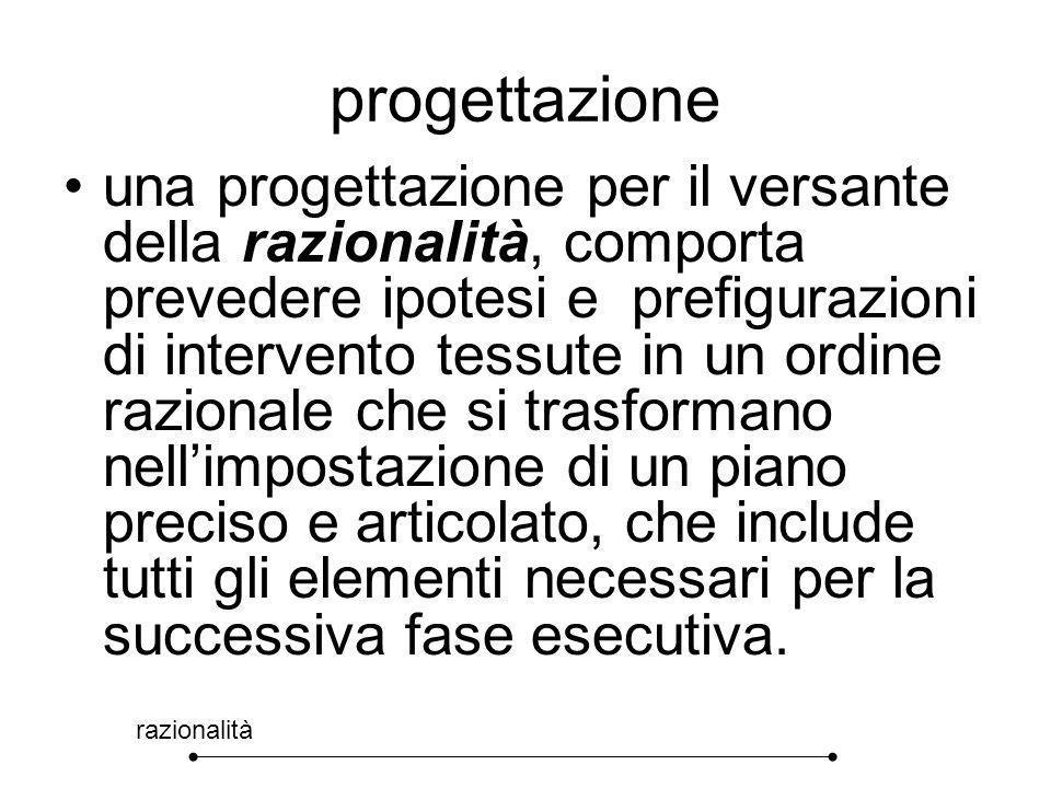progettazione razionalità una progettazione per il versante della razionalità, comporta prevedere ipotesi e prefigurazioni di intervento tessute in un