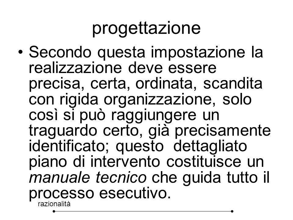progettazione razionalità Secondo questa impostazione la realizzazione deve essere precisa, certa, ordinata, scandita con rigida organizzazione, solo