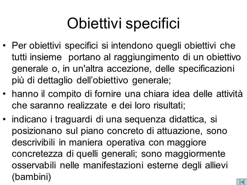 Obiettivi specifici Per obiettivi specifici si intendono quegli obiettivi che tutti insieme portano al raggiungimento di un obiettivo generale o, in u
