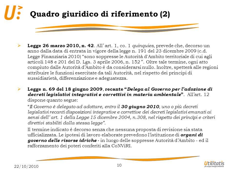 22/10/2010 10  Legge 26 marzo 2010, n. 42. All' art.