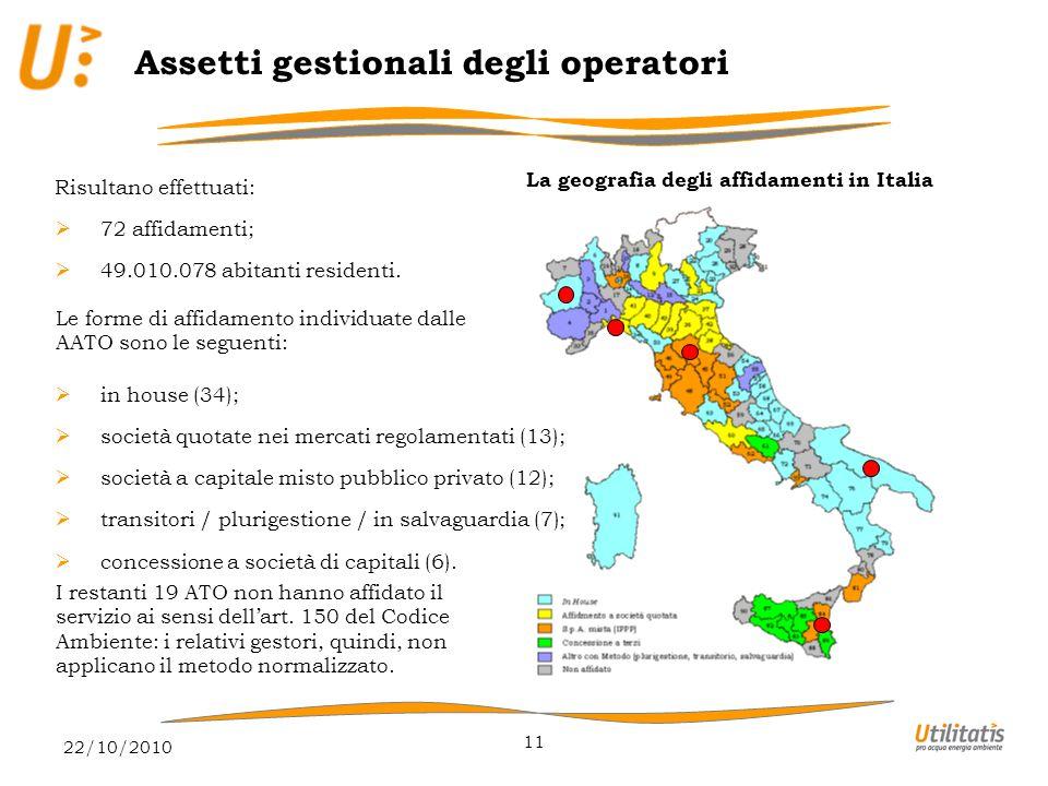 22/10/2010 11 Assetti gestionali degli operatori La geografia degli affidamenti in Italia Risultano effettuati:  72 affidamenti;  49.010.078 abitanti residenti.