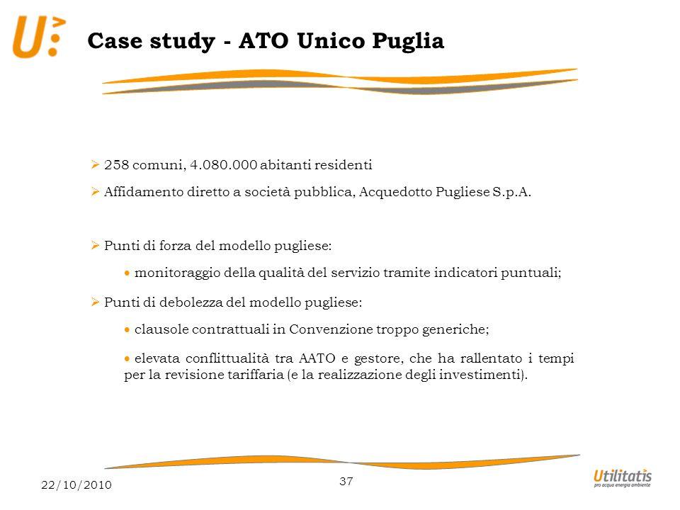 22/10/2010 37 Case study - ATO Unico Puglia  258 comuni, 4.080.000 abitanti residenti  Affidamento diretto a società pubblica, Acquedotto Pugliese S.p.A.