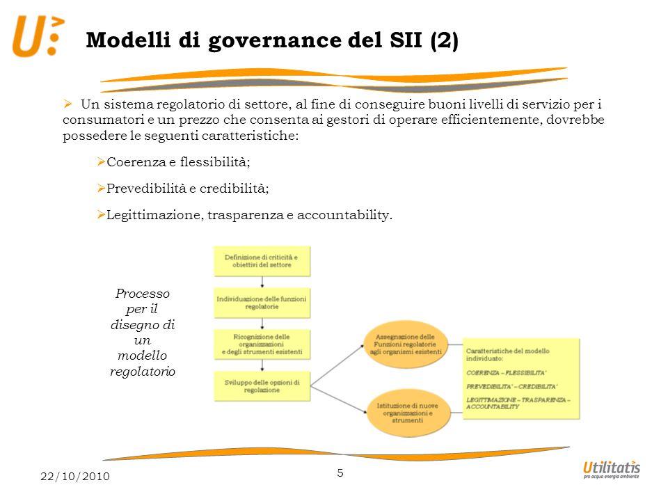 22/10/2010 6 Modelli di governance del SII (3)  Le opzioni di regolazione percorribili per il servizio idrico integrato appaiono essenzialmente le seguenti:  Modello con gestione pubblica diretta;  Modello decentrato di regolazione per contratto;  Modello con regolazione di settore indipendente.
