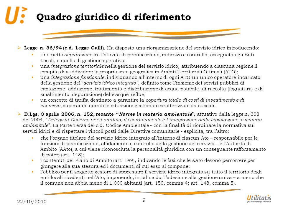 22/10/2010 9 Quadro giuridico di riferimento  Legge n.