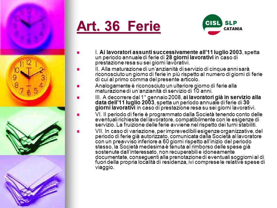 Art. 36 Ferie I. Ai lavoratori assunti successivamente all'11 luglio 2003, spetta un periodo annuale di ferie di 28 giorni lavorativi in caso di prest