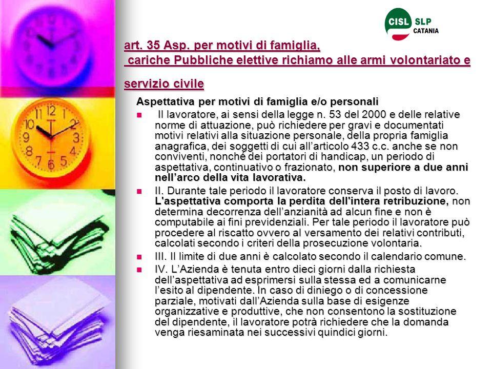 art. 35 Asp. per motivi di famiglia, cariche Pubbliche elettive richiamo alle armi volontariato e servizio civile Aspettativa per motivi di famiglia e