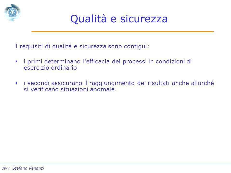 Avv. Stefano Venanzi Qualità e sicurezza I requisiti di qualità e sicurezza sono contigui:  i primi determinano l'efficacia dei processi in condizion