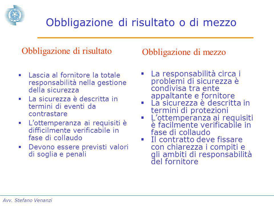 Avv. Stefano Venanzi Obbligazione di risultato o di mezzo  Lascia al fornitore la totale responsabilità nella gestione della sicurezza  La sicurezza