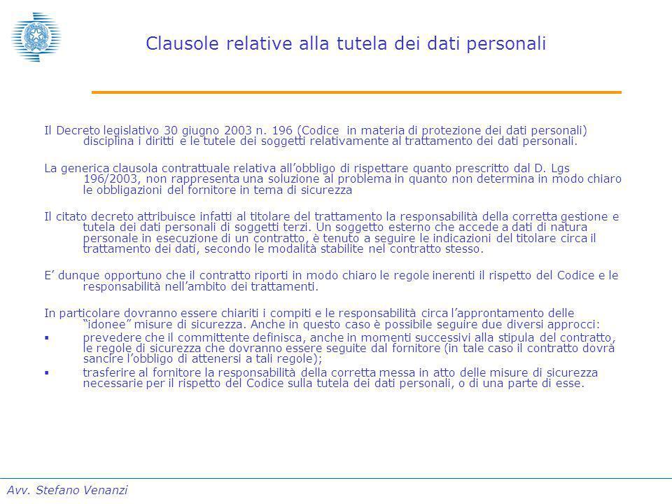 Avv. Stefano Venanzi Clausole relative alla tutela dei dati personali Il Decreto legislativo 30 giugno 2003 n. 196 (Codice in materia di protezione de