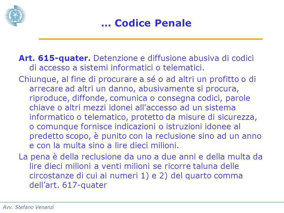 Avv. Stefano Venanzi … Codice Penale Art. 615-quater.