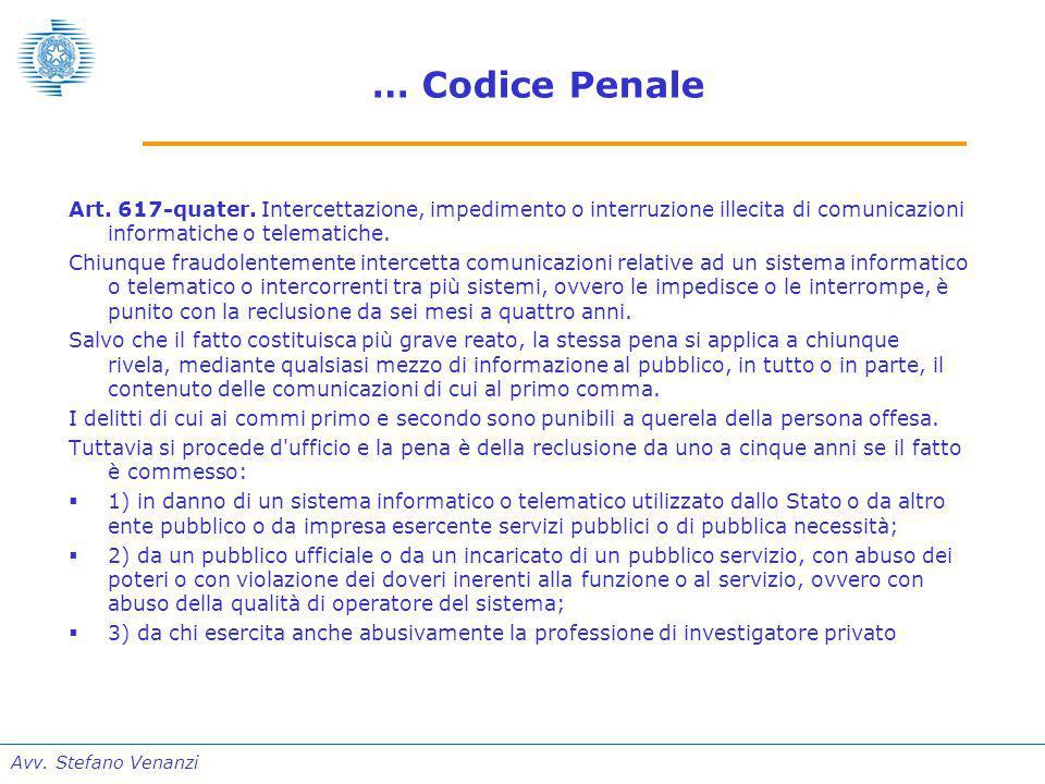 Avv. Stefano Venanzi … Codice Penale Art. 617-quater.