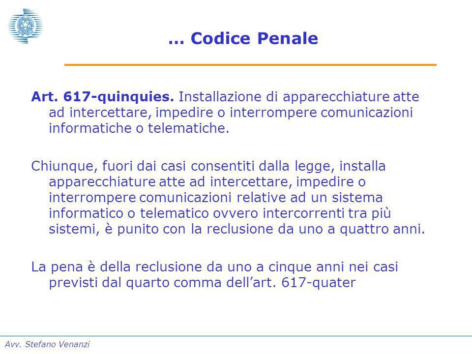Avv. Stefano Venanzi … Codice Penale Art. 617-quinquies.