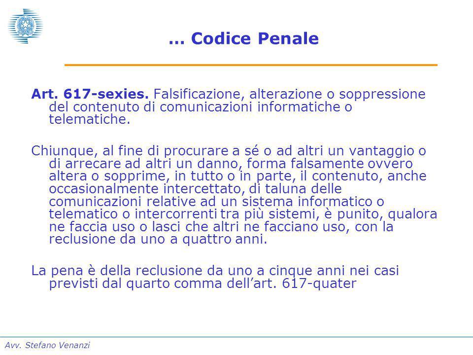 Avv. Stefano Venanzi … Codice Penale Art. 617-sexies.
