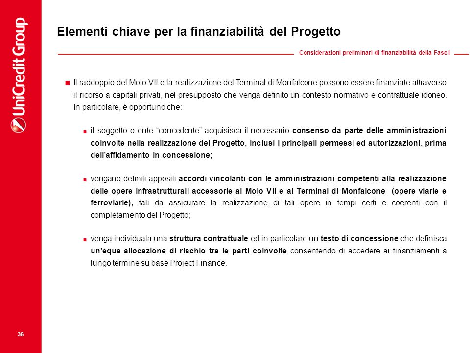 Elementi chiave per la finanziabilità del Progetto  Il raddoppio del Molo VII e la realizzazione del Terminal di Monfalcone possono essere finanziate attraverso il ricorso a capitali privati, nel presupposto che venga definito un contesto normativo e contrattuale idoneo.