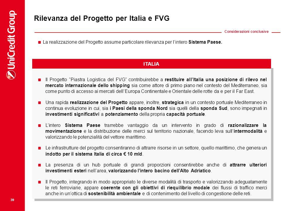 """ Il Progetto """"Piastra Logistica del FVG"""" contribuirebbe a restituire all'Italia una posizione di rilevo nel mercato internazionale dello shipping sia"""
