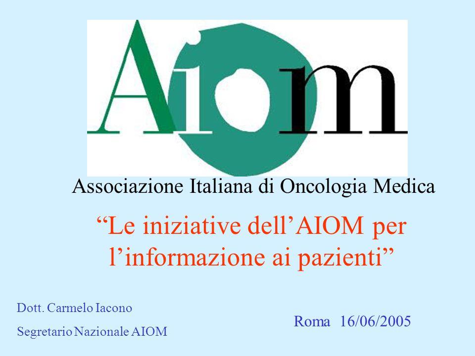 Associazione Italiana di Oncologia Medica Le iniziative dell'AIOM per l'informazione ai pazienti Roma 16/06/2005 Dott.