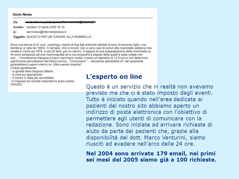 L'esperto on line Questo è un servizio che in realtà non avevamo previsto ma che ci è stato imposto dagli eventi.