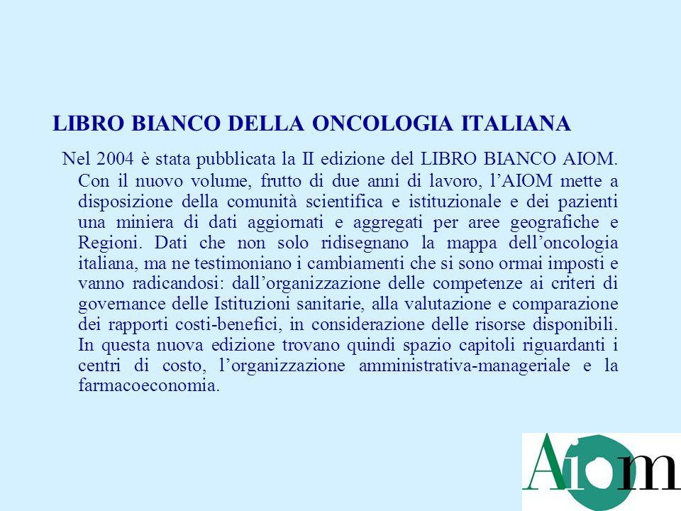 LIBRO BIANCO DELLA ONCOLOGIA ITALIANA Nel 2004 è stata pubblicata la II edizione del LIBRO BIANCO AIOM. Con il nuovo volume, frutto di due anni di lav
