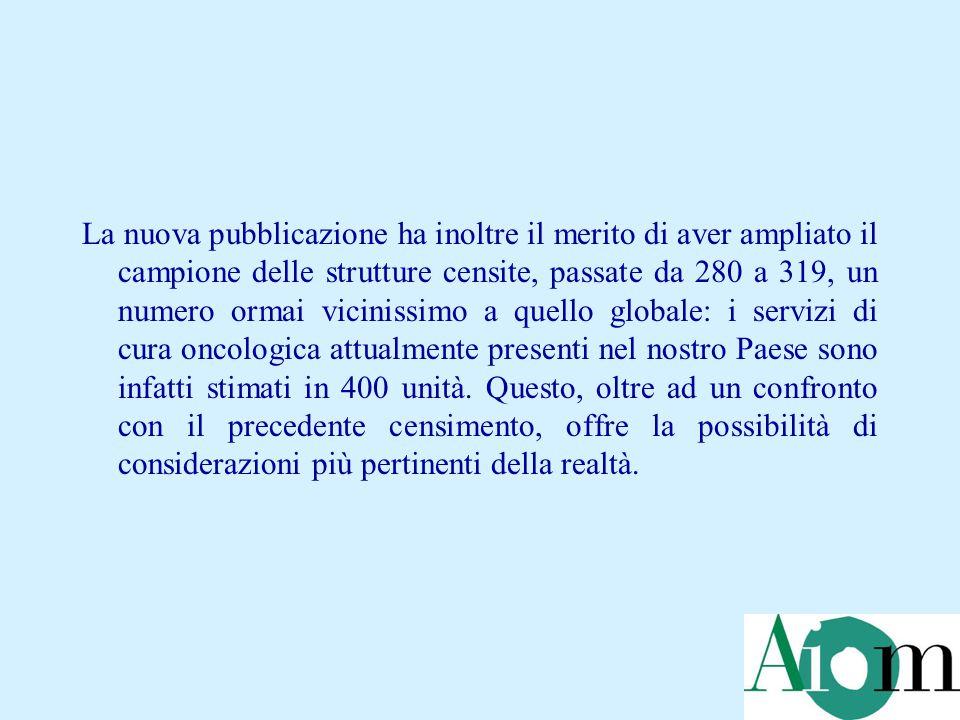 La nuova pubblicazione ha inoltre il merito di aver ampliato il campione delle strutture censite, passate da 280 a 319, un numero ormai vicinissimo a