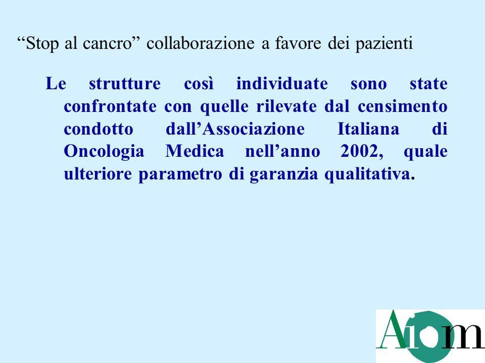 Le strutture così individuate sono state confrontate con quelle rilevate dal censimento condotto dall'Associazione Italiana di Oncologia Medica nell'anno 2002, quale ulteriore parametro di garanzia qualitativa.