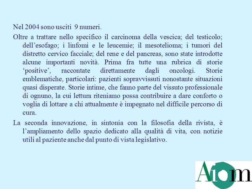 Dall'aprile 2003 è disponibile un Numero Verde AIOM di informazione e ascolto sui tumori (800.237.303).