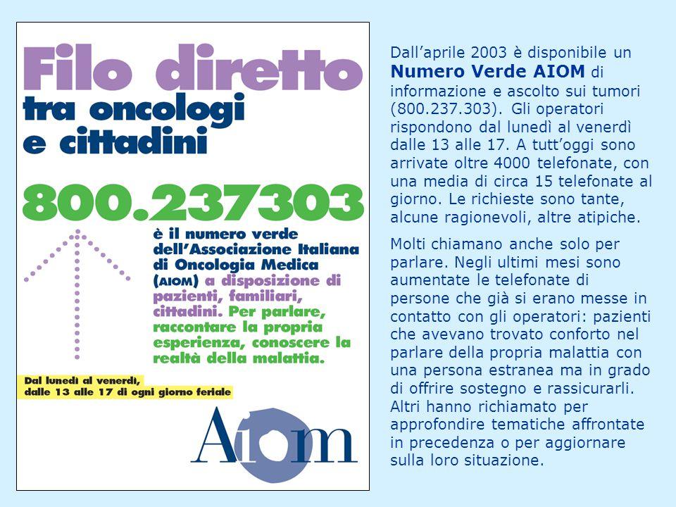 Dall'aprile 2003 è disponibile un Numero Verde AIOM di informazione e ascolto sui tumori (800.237.303). Gli operatori rispondono dal lunedì al venerdì