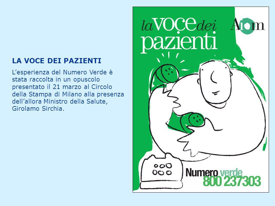 LA VOCE DEI PAZIENTI L'esperienza del Numero Verde è stata raccolta in un opuscolo presentato il 21 marzo al Circolo della Stampa di Milano alla presenza dell'allora Ministro della Salute, Girolamo Sirchia.