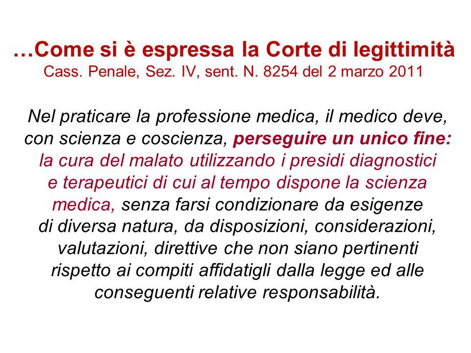 …Come si è espressa la Corte di legittimità Cass. Penale, Sez. IV, sent. N. 8254 del 2 marzo 2011 Nel praticare la professione medica, il medico deve,