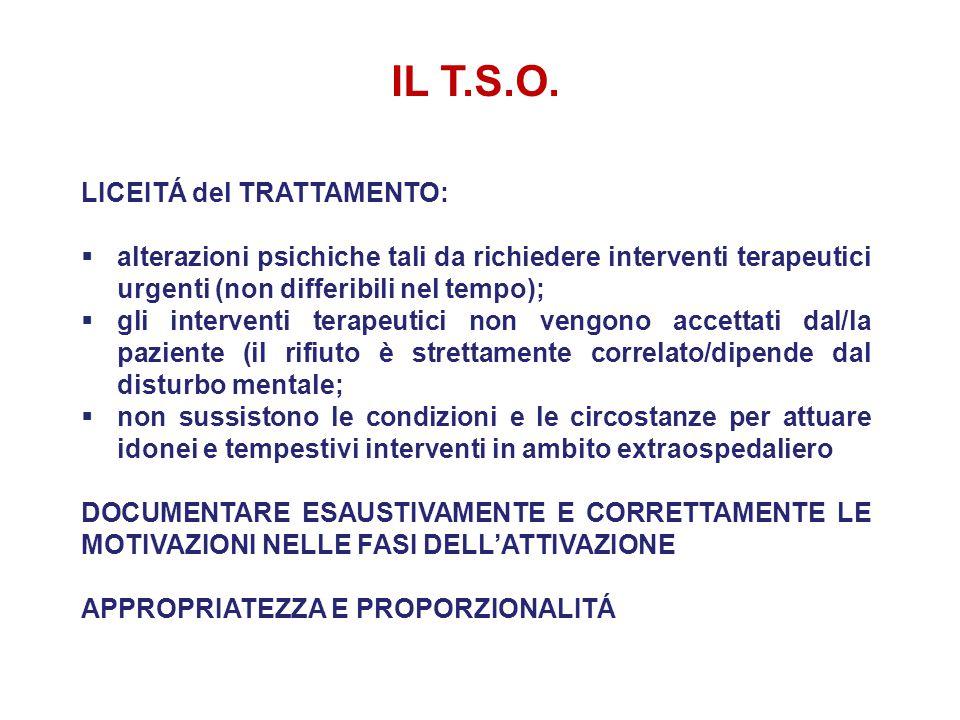 IL T.S.O. LICEITÁ del TRATTAMENTO:  alterazioni psichiche tali da richiedere interventi terapeutici urgenti (non differibili nel tempo);  gli interv