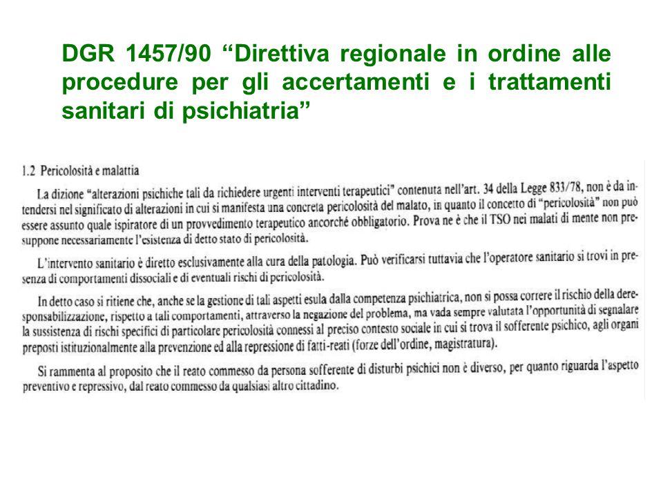 """DGR 1457/90 """"Direttiva regionale in ordine alle procedure per gli accertamenti e i trattamenti sanitari di psichiatria"""""""