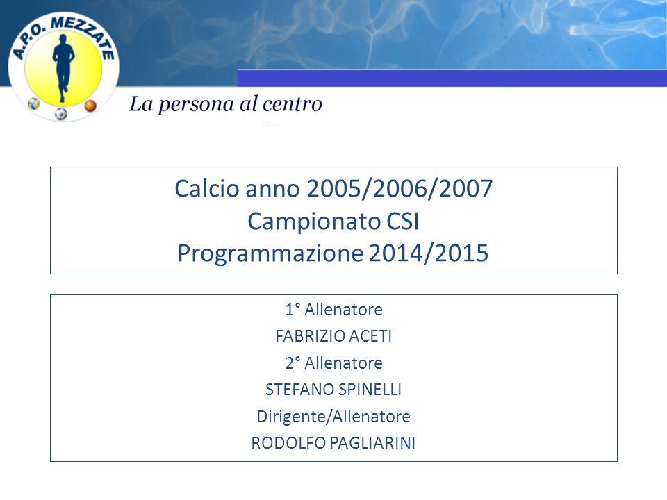 Calcio anno 2005/2006/2007 Campionato CSI Programmazione 2014/2015 1° Allenatore FABRIZIO ACETI 2° Allenatore STEFANO SPINELLI Dirigente/Allenatore RODOLFO PAGLIARINI