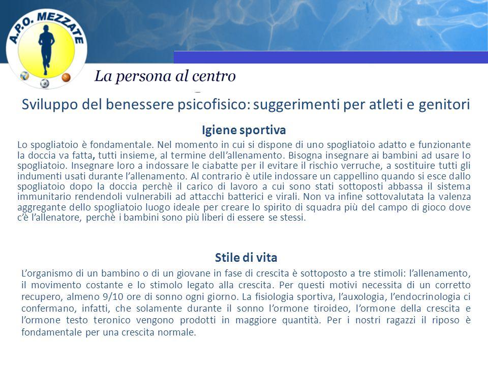 Sviluppo del benessere psicofisico: suggerimenti per atleti e genitori Igiene sportiva Lo spogliatoio è fondamentale.
