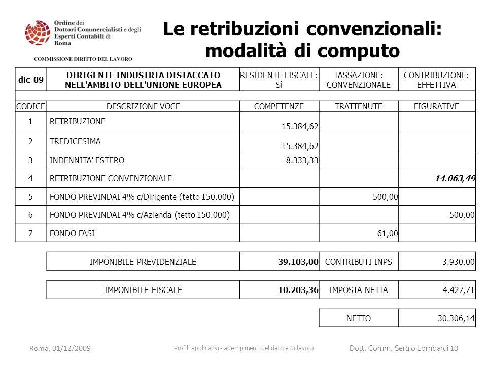 Roma, 01/12/2009 Profili applicativi - adempimenti del datore di lavoro Dott. Comm. Sergio Lombardi 10 dic-09 DIRIGENTE INDUSTRIA DISTACCATO NELL'AMBI