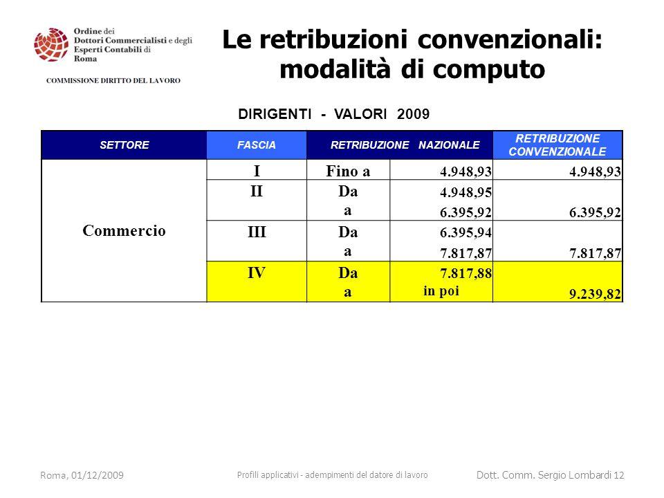 Roma, 01/12/2009 Profili applicativi - adempimenti del datore di lavoro Dott. Comm. Sergio Lombardi 12 DIRIGENTI - VALORI 2009 SETTOREFASCIA RETRIBUZI