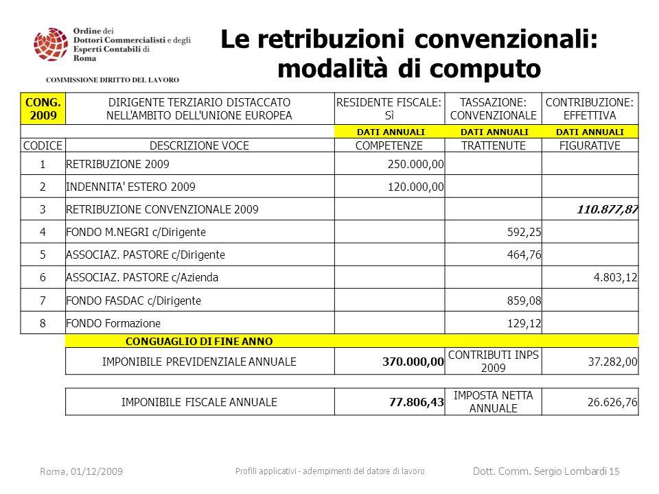 Roma, 01/12/2009 Profili applicativi - adempimenti del datore di lavoro Dott. Comm. Sergio Lombardi 15 CONG. 2009 DIRIGENTE TERZIARIO DISTACCATO NELL'