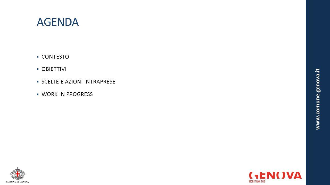 COSTRUIRE SUI PUNTI DI FORZA ESISTENTI Gli interventi al sito rappresentano un'evoluzione del Portale in uso, in continuità con alcune delle scelte già intraprese dal Comune di Genova nell'ambito del sistema dei siti web (istituzionale e tematici):  Filosofia open source  sviluppo di tutte le nuove funzioni e interfacce grafiche all'interno del CMS Drupal  Rete informativa servizi diffusa (ottimizzazione tempi di aggiornamento, incremento competenze interne, controllo diretto sui contenuti)  ampliamento e aggiornamento delle sottosezioni del sito attraverso il lavoro svolto dai «redattori di contenuti» delle diverse Direzioni e Municipi  Interoperabilità e razionalizzazione  integrazione tra i database dei diversi siti del Comune al fine di far risiedere il dato in un'unica sorgente nel quale viene inserito e aggiornato es.