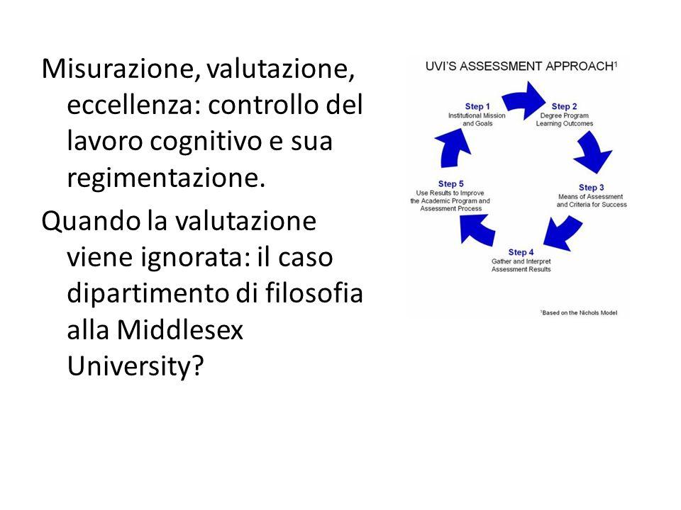 Misurazione, valutazione, eccellenza: controllo del lavoro cognitivo e sua regimentazione.