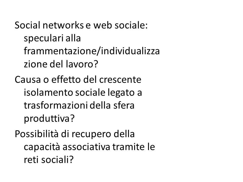 Social networks e web sociale: speculari alla frammentazione/individualizza zione del lavoro.