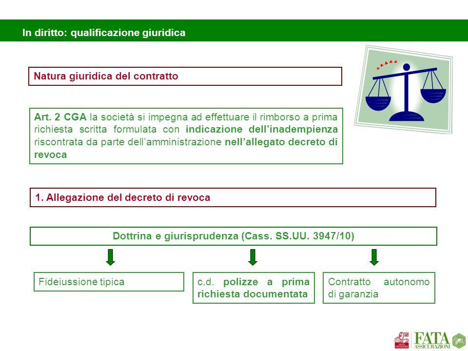 In diritto: qualificazione giuridica Natura giuridica del contratto Art. 2 CGA la società si impegna ad effettuare il rimborso a prima richiesta scrit