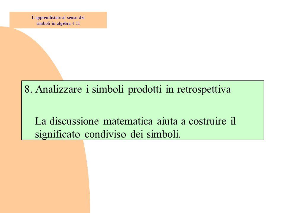 8. Analizzare i simboli prodotti in retrospettiva La discussione matematica aiuta a costruire il significato condiviso dei simboli. L'apprendistato al