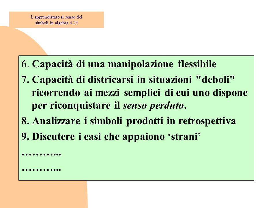 6. Capacità di una manipolazione flessibile 7. Capacità di districarsi in situazioni