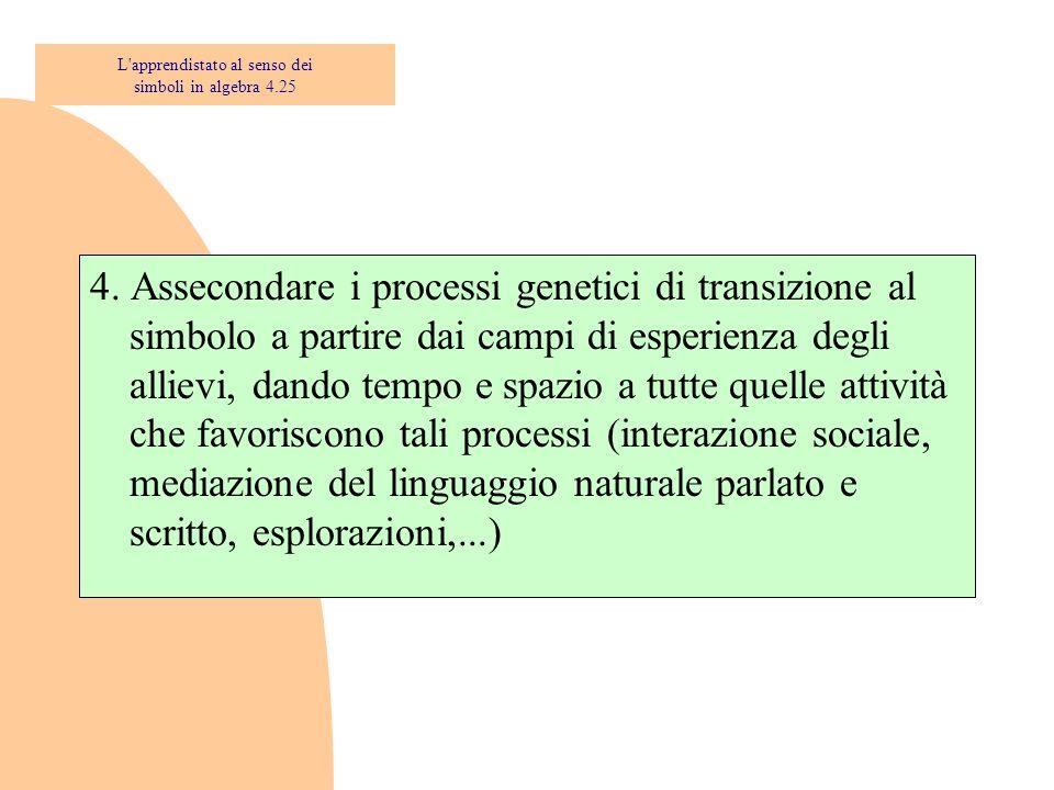 4. Assecondare i processi genetici di transizione al simbolo a partire dai campi di esperienza degli allievi, dando tempo e spazio a tutte quelle atti