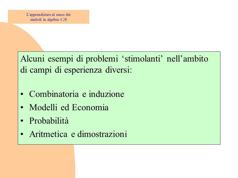 Alcuni esempi di problemi 'stimolanti' nell'ambito di campi di esperienza diversi: Combinatoria e induzione Modelli ed Economia Probabilità Aritmetica
