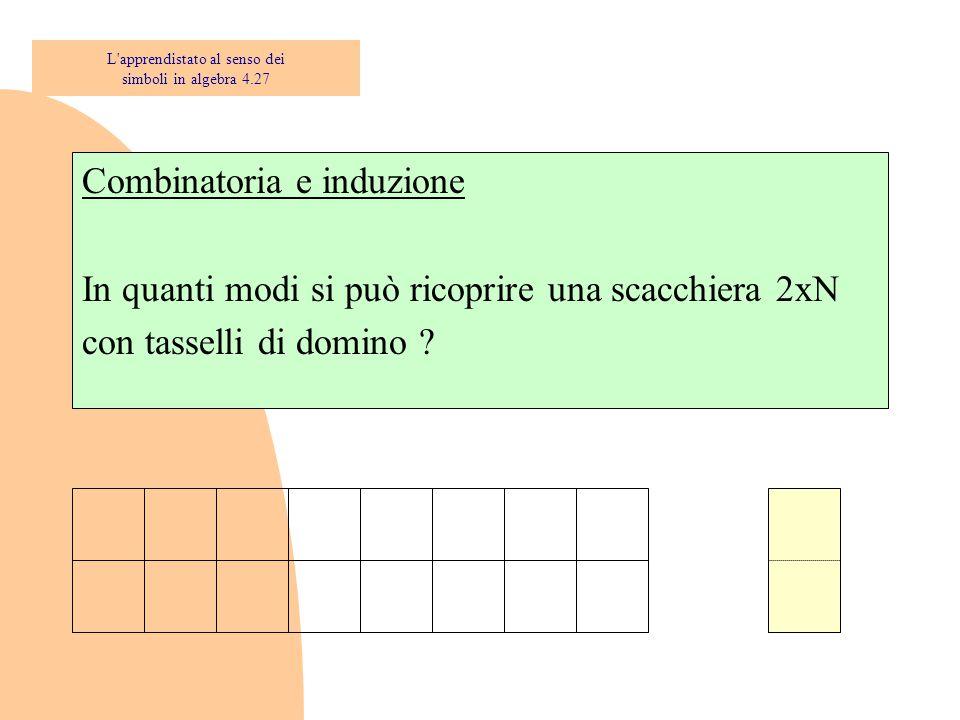 Combinatoria e induzione In quanti modi si può ricoprire una scacchiera 2xN con tasselli di domino ? L'apprendistato al senso dei simboli in algebra 4
